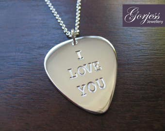 Plectrum I love you Silver Pendant Necklace