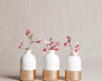 READY TO SHIP : White + Gold Minimalist Bud Vases // Set of Three