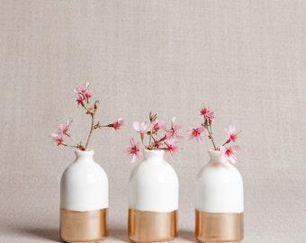 PRÊT à l'expédition: Blanc + or minimaliste soliflores / / lot de trois
