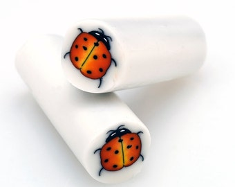 Lady Bug Polymer Clay Cane, Raw polymer Clay Cane, Millefiori Polymer Clay