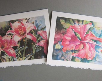 Hibiscus and Hot Lilies 5 x 7 Note Card Art Greeting cards Blank watercolor print art cards