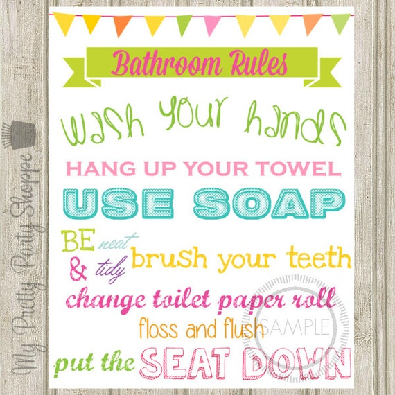 Dynamite image with printable bathroom rules