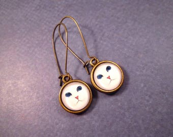 White Cat Earrings, Glass Cabochon Earrings, Brass Dangle Earrings, FREE Shipping U.S.