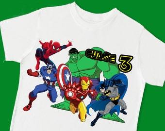 Super Heroes Birthday Tee. Batman, Iron Man, Captain America, Spider Man, Hulk Birthday T-Shirt. Personalized with Name and Age. (15077)