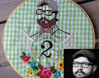 CUSTOM Individual Hand Embroidered Portrait Hoop Art; Custom Portrait of Individual