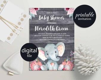 Elephant baby shower invitation Girl safari baby shower invitation printable Girl Baby shower Invitation Jungle Baby Shower Invitation