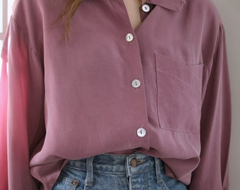 Dusty Rose Long Sleeve Cupro Blouse
