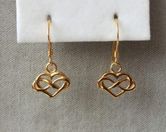 9ct Gold over Sterling Silver Infinity Heart Earrings 22mm x 11mm.