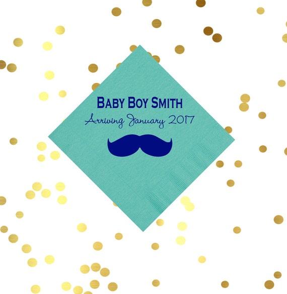 mustache napkins, baby shower napkins, baby boy shower, personalized napkins, boys birthday napkins, kids birthday party, party favor