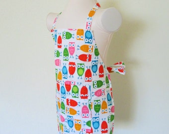 Childrens Apron - Colorful Sleepy and Wide Eyed Owls Kids Apron, A fun apron for cooking and creating
