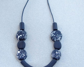Original black and white statement necklace. Long adjustable necklace. Handmade jewelry, artistic necklace, unique gift for modern women.