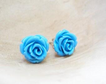 Aqua Blue Rose Earrings Resin post Earrings