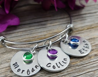 Mothers Bracelet, Mothers day gift, Grandma, Birthstone Bracelet, Bangle Bracelet, Mother, Mothers Gift, Grandmother jewelry gift for mom