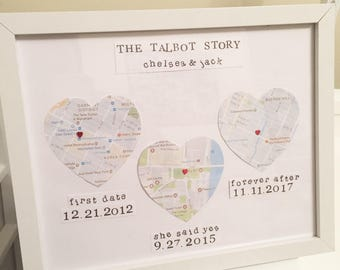 Personalised Wedding Day Gift, Map Heart Frame, Met, First Date, Engaged, Married, The Story Of Us Frame