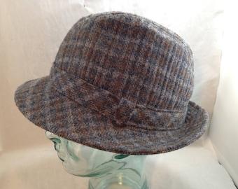 Vintage Pendleton Wool Blue Grey and Brown Tweed Bucket Style Fedora Size Large    01823