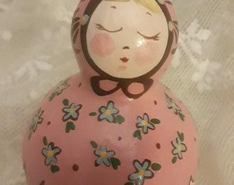 Baby Doll Gourd! Art Doll, Hand Painted Gourd Doll, Home Grown, Gourd Girl, Gourd Gift