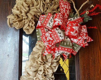 Ready to ship!, Burlap Candy Cane, Candy Cane, Candy Cane Wreath, Door Hanger, Rustic Christmas, Burlap Christmas