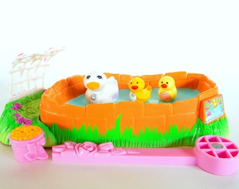 Vintage Littlest Pet Shop Swimming Ducklings with Pondside Nest Playset by Kenner 1994 Retro 90s Toy
