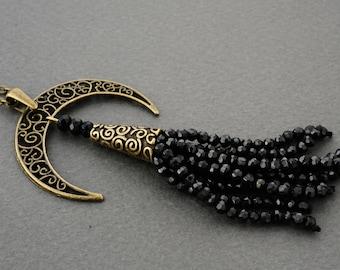 Tassel Tribal Necklace Tribal Jewelry Black Tassel Necklace Crescent Necklace Gemstone Necklace Spinel Necklace Ethnic Necklace Moon Necklac