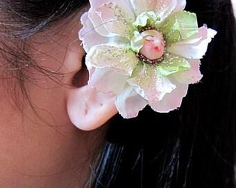 Flower Ear Cuff - Fairy Ear Cuff - Peach Ear Cuff - Flower Cuff Earring - Flower Earcuff - Fairy Earcuff - Floral Ear Cuff - Flower Ear Wrap