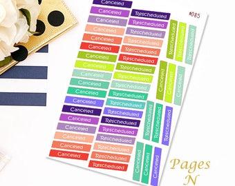 Canceled Rescheduled Planner Stickers/ Erin Condren/ Plum Paper/ Inkwell Press/ Happy Planner/ Functional Stickers  #085