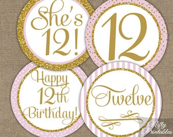 12th Birthday Cupcake Toppers - Twelfth Birthday Party Pink & Gold Printable - DIY Girls 12th Bday Favor Tags - Twelve Year Old - PGL