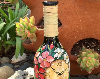 Lighted wine bottle. Kitchen decor. Gift for Her. Mother's Day Gift. Home decor. Patio decor
