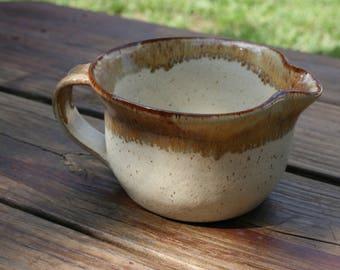 Pottery Batter Bowl Linen Brown Rim Glaze NC Pottery