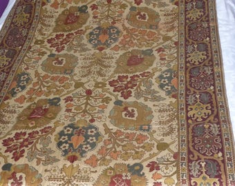 Indian silk Panel printed floral & gold-early 20th S embroidered thread