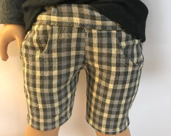 Gray Plaid Bermuda shorts for 18 inch boy dolls bermuda shorts 18 inch boy doll clothes