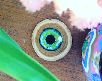 Painted eye wood slice necklace