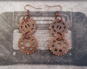 SALE! Found Objects, Industrial, Steampunk, Dangle Earrings with Two Different Copper Metal Gears - Hang 2.25 Inches.