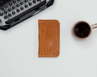 Leather iPhone Wallet - The Data Jack - Rustic Camel w/ Woodgrain Stitching