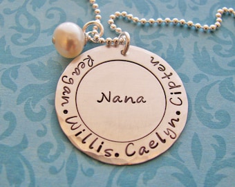 circle of grandma's love necklace  - custom hand stamped silver necklace