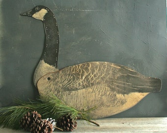 Vintage Waxed Cardboard Canadian Goose Decoy, Mantle Display, Shabby Chic, Farmhouse Decor, Rustic, Primitive