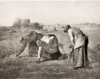 1890 France Gleaners Wheat Harvest Original Photogravure J.F. Millet Antique