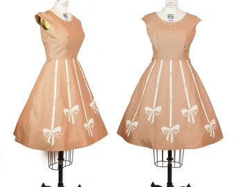 1950s Dress ~ Flocked Bows Border Novelty Print Mocha Brown Studded Cotton Day Dress