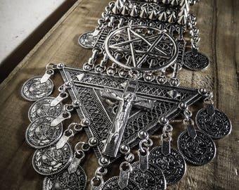 Juliette 666 Tribal Spiky 666 silver necklace