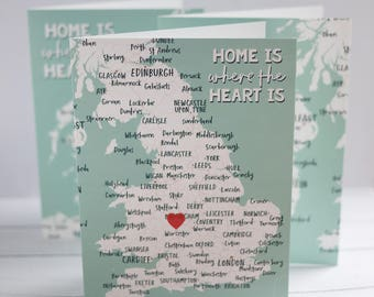 Map print art card with heart sticker - of England Wales OR Scotland OR Ireland and Northern Ireland - A5 looks great framed