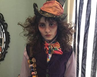 Mad Hatter Hat Tim Burton Johnny Depp Mad Hatter Tophat Mad Hatter Costume Alice in Wonderland Costume Through the Looking Glass