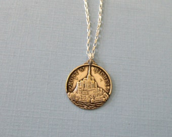 Mount Saint Michael Religious Medal - French Religious Medal - Pendant Necklace - Religious Jewelry Catholic Gifts