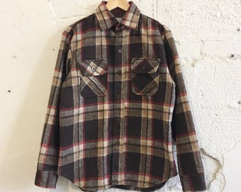 80's Brown Winter Button Up