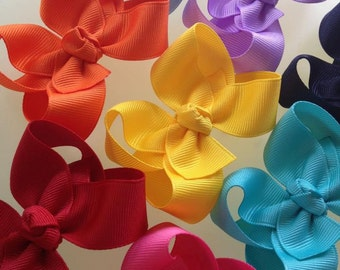 Small Bow Set -- 3-inch Small Boutique Bows - Pick 4 Colors -- Darling Little Bow Shop