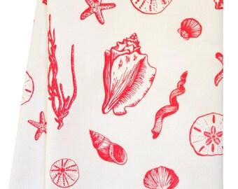 coral shell tea towel
