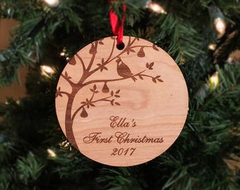 Gifts for Dad, First Christmas, Ornament, Babies first Christmas, Partridge, Pear Tree, Wood, Christmas, Gift, Child, Mothers Day