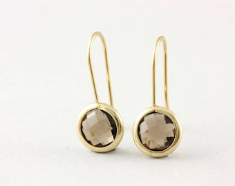 Gemstone Earrings, Gold Gemstone Earrings, Smoky Quartz Earrings, Gold Quartz Earrings, 14K Solid Gold Earrings, Brown Stone Earrings GE0378