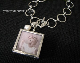 Soldered Photo Charm Link  Bracelet with Pearl Accent