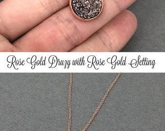 Druzy Necklace, Rose Gold Necklace, Mother's Day Gift, Bridesmaid Gift, Druzy Jewelry, Crystal Necklace, Wedding Jewelry, Sister Gift