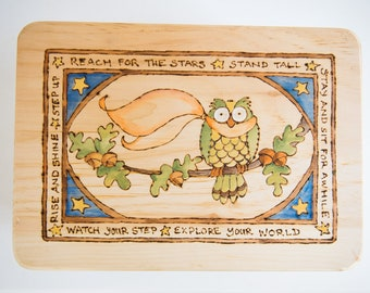 Customizable Wooden Owl Stool for Toddlers and Children Wood-burned and Hand-painted
