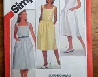 Vintage Simplicity 5886 Summer Dress Sundress Sewing Pattern Size Misses' 6,8,10